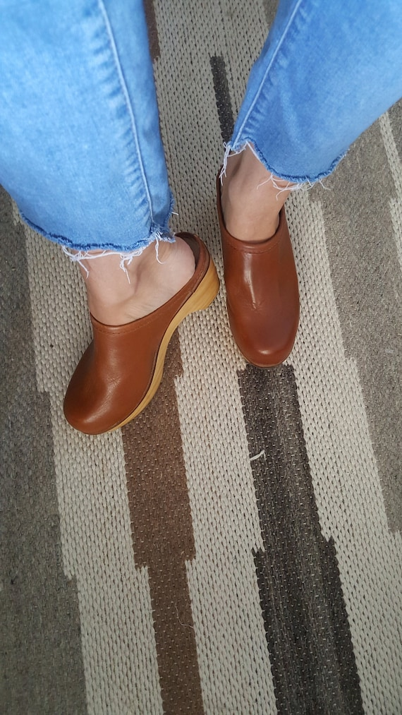 1970's Inspired Leather and Wood Platform Clogs -