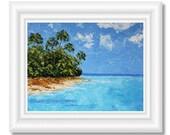 Caribbean Art, Hawaii Beach Painting on Canvas, Original Art, Tropical Painting, Hawaii Art, Ocean Painting, Living Room Art, Wall Art Gift