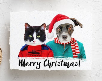 Pet christmas cards | Etsy