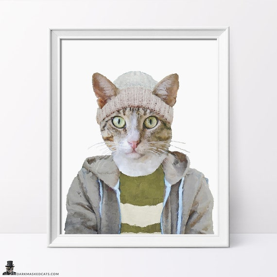 29d9dd007df6c Home decor wall art, printable wall art, boyfriend gift, Cat Print, Cat  lover gift, Christmas gifts, crazy cat lady, hip hop cat