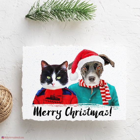 Custom Pet Christmas Cards Cat Christmas Cards Dog Christmas Etsy