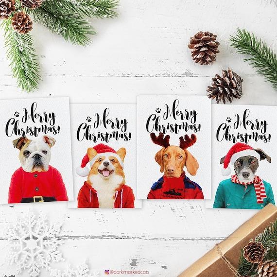 Dog Christmas Card Photo.Custom Dog Christmas Card Dog Lover Gift Dog Portrait Dog Christmas Cards Custom Pet Christmas Gifts Funny Christmas Card