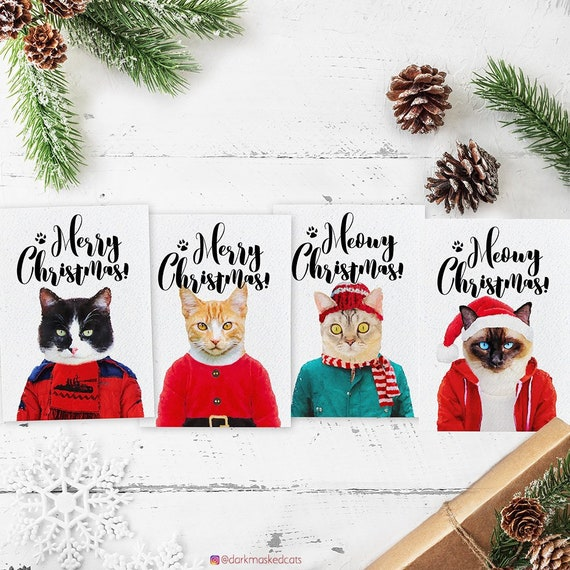 Custom Cat Christmas Card Cat Lover Gift Cat Christmas Etsy