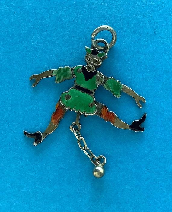 Victorian Silver Enamel Jester Clown Charm, Jumpin