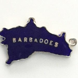 Thomas L Mott Green Barbados Caribbean Island Map Vintage Sterling Silver Bracelet Charm TLM