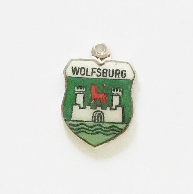 Wolfsburg Silver Bracelet Charm Enamel Travel Shield Germany Souvenir Vintage Pendant Fob