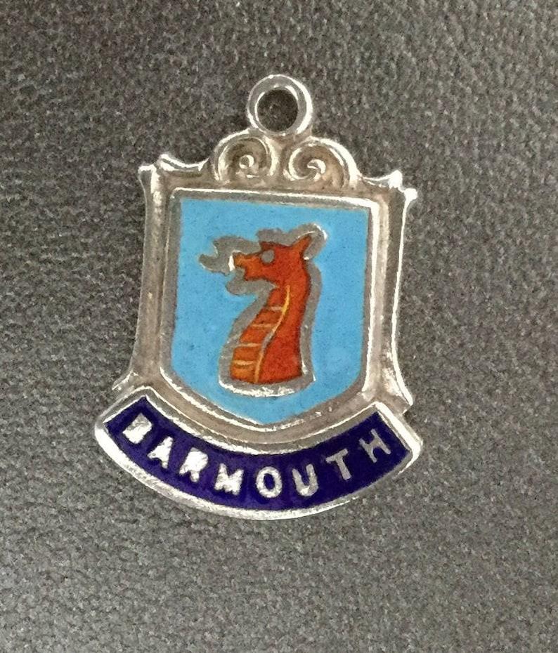 Silver Bracelet Charm Enamel Barmouth Travel Shield Silver Necklace Pendant Fob Wales