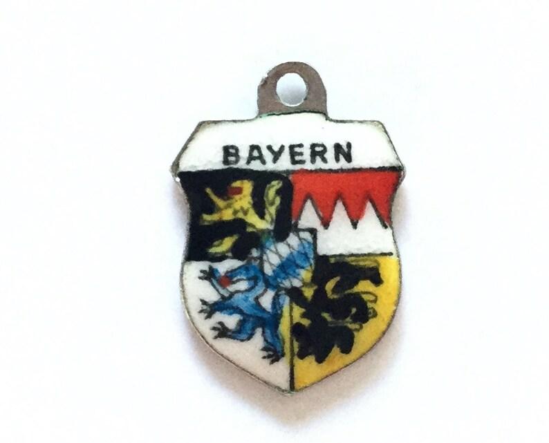 Bayern Silver Bracelet Charm Enamel Travel Shield Souvenir Vintage Pendant Fob Germany
