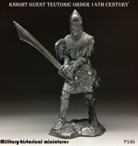 Collectibles Knight Lithuania Action Figures Tin Toy Soldiers 54 mm 1/32  scale Pewter Miniatures Metal Sculpture Figurine Pewter P146