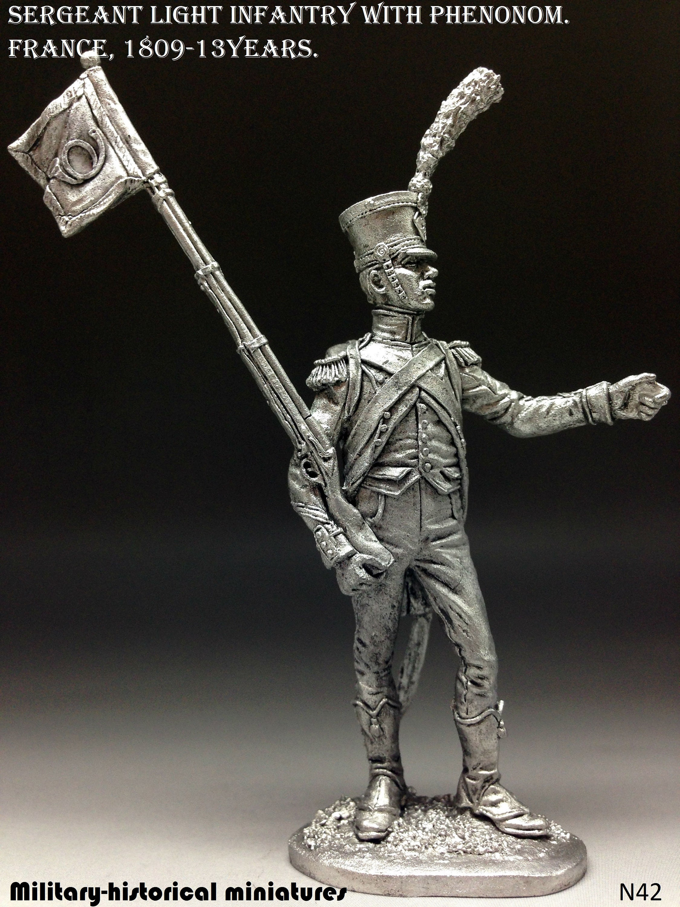 France Tin Toy Soldiers Metal Sculpture Miniature Figure Collection 54mm Sergeant of light infantry scale 1//32 N42