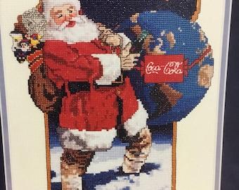 Vintage Coca Cola counted cross stitch santa series leaflet