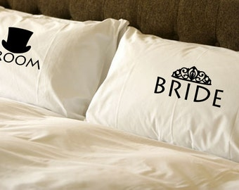 Bride and Groom Pillow Case Set