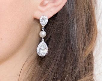 Bridal Crystal Pearl Earrings, CZ Bridal Earrings,  Long Wedding Earrings, Bridal Pearl Cubic Zirconia Earrings, Ref. ARIANE