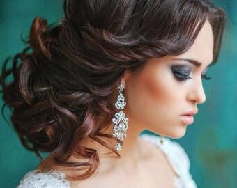 Vintage Bridal Earrings, Chandelier Earrings, Vintage Wedding Earrings, Chandelier Earrings Wedding,  Vintage Wedding Jewelry, Ref ELSA