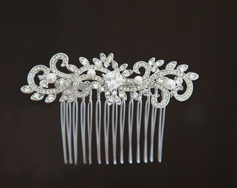 Silver Wedding Comb, Crystal Hair Comb, Bridal Hair Comb, Crystal Hair Comb, Hair Comb, Bridal Headpiece, Ref CINDY