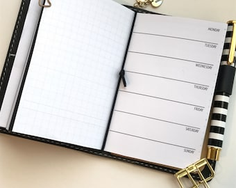Week On One Page with Grid | Traveler's Notebook Planner Inserts | WO1P | M-S | Pocket Size