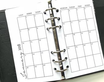 Monthly On 2 Pages Single Sided Printed Planner Inserts - Personal Size - Grid or Dot Grid