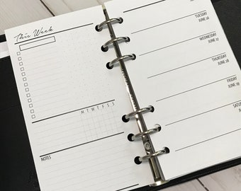 Week On 1 Page With Lists | Personal Size Printed Planner Inserts | WO1P