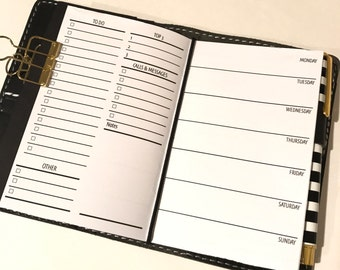Week On One Page with Lists | Traveler's Notebook Planner Inserts | WO1P | M-S | Pocket Size