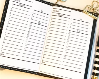 Daily Traveler's Notebook Planner Inserts | Pocket Size| Day On 1 Page | DO1P