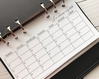 Monthly Personal Size Planner Calendar | Month On One Page MO1P| Horizontal Calendar |