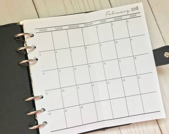 Months On One Page | Fold Out Dated Personal Planner Inserts | MO1P