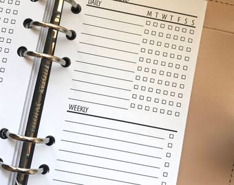 Weekly Checklist - Task Tracker Planner Inserts - WO1P - 2WO2P - Sleek Collection - Style 1