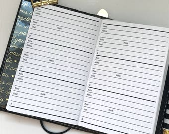 Traveler's Notebook | Addresses & Contacts | Planner Inserts | Pocket Size TN