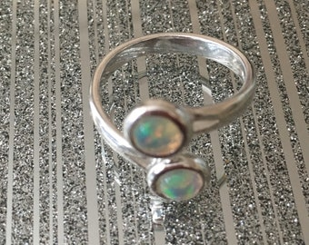 Opal and Sterling Silver Adjustable Ring