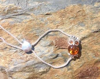Baltic Amber and Sterling Silver Owl Slider Bracelet