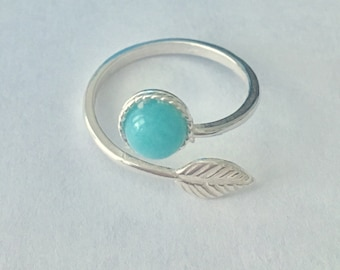 Sterling Silver Adjustable Feather Ring With Turquoise Gemstone