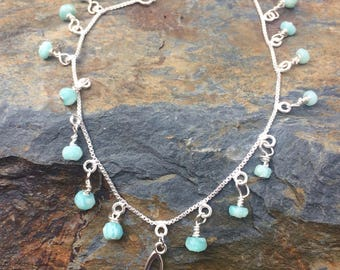 Amazonite and Sterling Silver Heart Bracelet