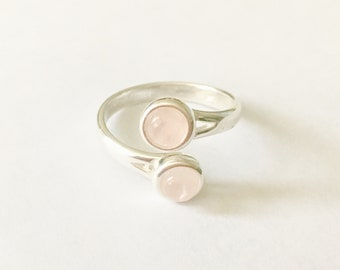 Rose Quartz Sterling Silver Adjustable Ring