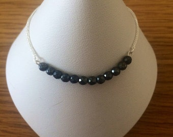 Black Spinal and Sterling Silver Bracelet