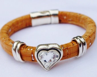 Portuguese Cork and Swarovski Crystal Heart Women's Vegan Bracelet