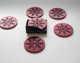 Laser Cut Wood Coaster Set of 6 with Holder Christmas Designs