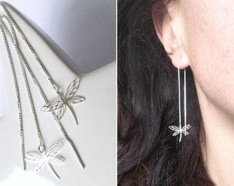 Dragonfly Threader Earrings Dragonfly Pendant Silver Jewel with Dragonfly Romantic Jewel Enchanting Earrings Fine Long Earrings nickel-free