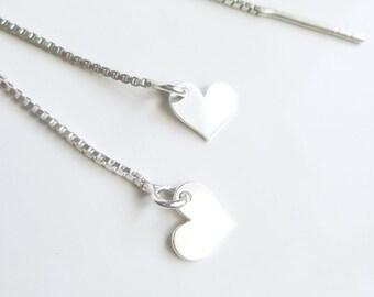 Heart Threader Earrings Love Earrings Heart Pendant Jewel with Heart Romantic Jewel Thin Long Earrings Declaration of Love Jewel nickel-free