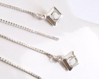 Crystal Threader Earrings Modern Earrings Crystal Pendant Diamond Geometrical Earrings Fine and Long Silver Earrings Jewel nickel-free