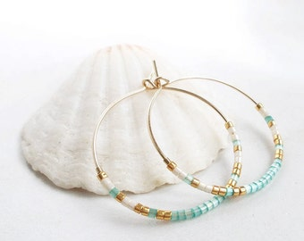 Turquoise Blue Beads Hoop Earrings Turquoise Earrings Thin Gold Earrings Small Turquoise Pearls Earrings Romantic Earrings Delicate Earrings