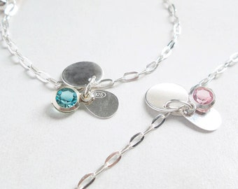 Bracelet with Silver Charms Jewel with Crystal blue Bead pink Bead pink crystal blue crystal silver coins silver bracelet jewel nickel-free