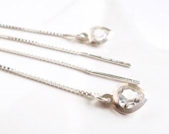 Crystal Heart Threader Earrings with Heart Pendant with Crystal Silver fine Earrings Elegant Earrings Romantic Earrings nickel-free