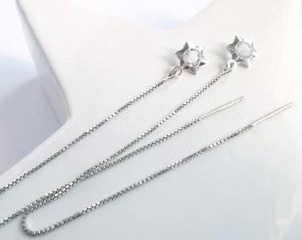 Star Crystal Threader Earrings with Star Pendant Jewel with Crystal Jewel with Star Silver Thin and Long Earrings Romantic Jewel Nickel-free