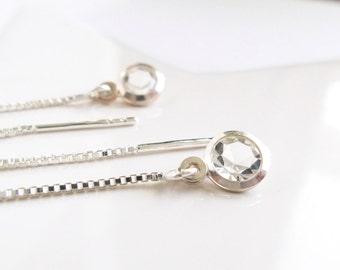 Circle Crystal Threader Earrings Circle Crystal Pendant Silver Earrings Jewel with Crystal Minimalist Earrings Modern Jewel nickel-free