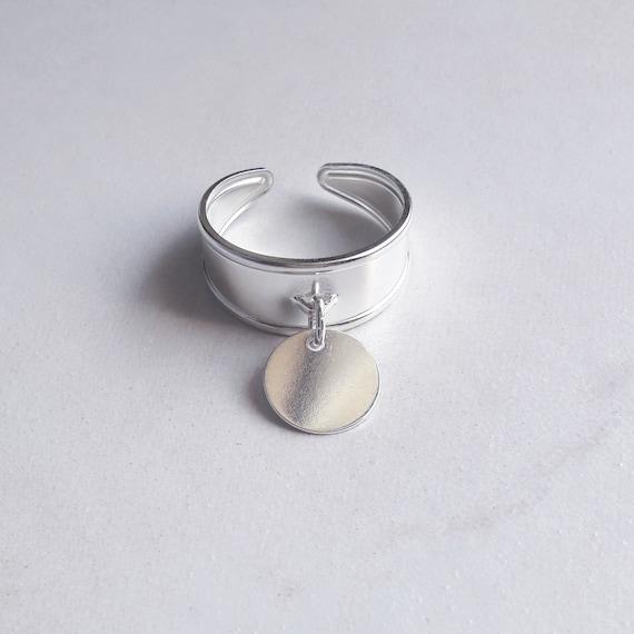 bague argent ruban 10mm avec medaillon