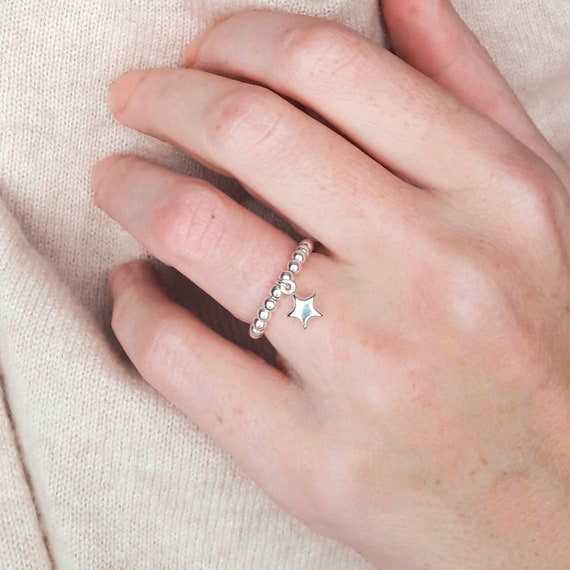 heart or sun or moon charm Star ring and round beads silver 925