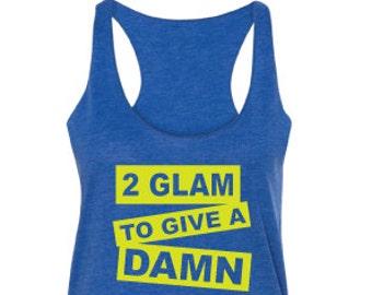 Too Glam tank top, Women's fitness tank top, royal, tank top, raw edge seams