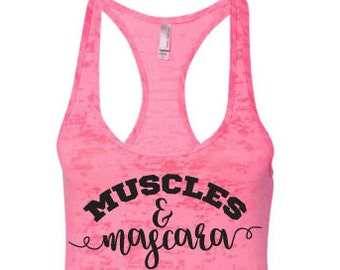Muscles and Mascara tank top, Muscles and Mascara Tank, Muscles & Mascara Tank Top, Workout Tank Top, Gym tank top