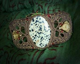 Delicate macramé bracelet with dalmation Jasper stone