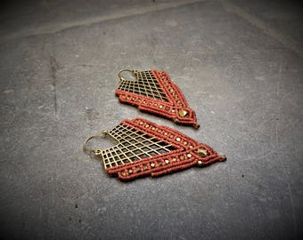Nickelfree Tribal macrame earrings